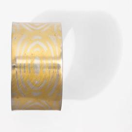 Armreif breit geschlossen, 925-er Silber Feingoldmuster